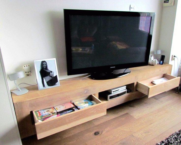 Eiken Tv-meubel Tv-kast Eikenhout Laden Zwevend Hangend te Koop Aangeboden op Tweedehands.net
