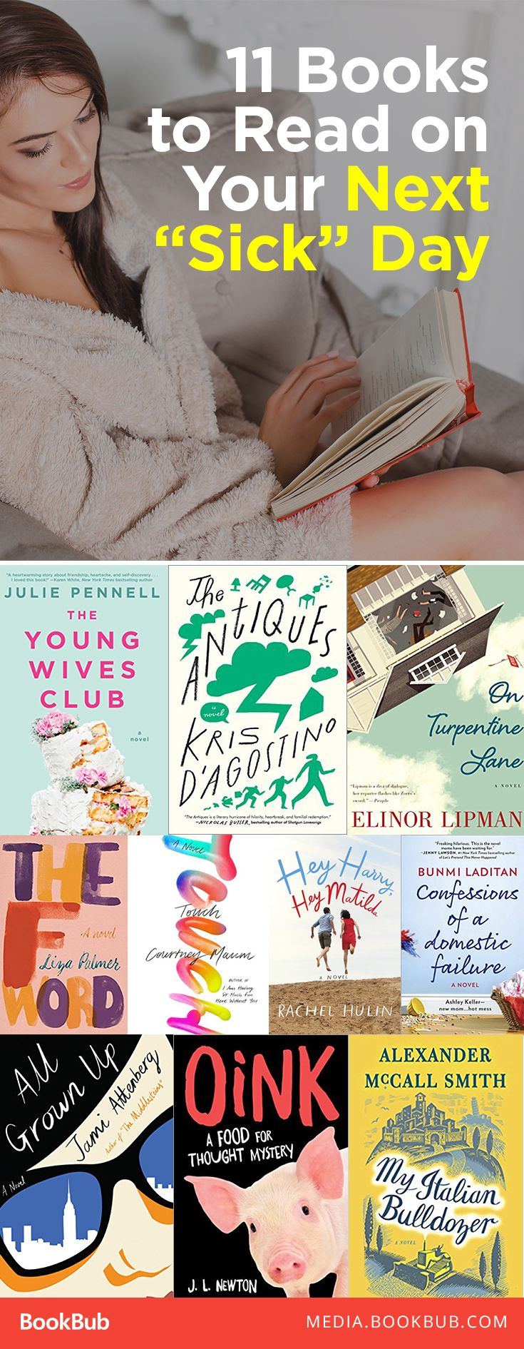 "11 books to read on your next ""sick"" day, including funny books to read that are sure to make you laugh out loud!"