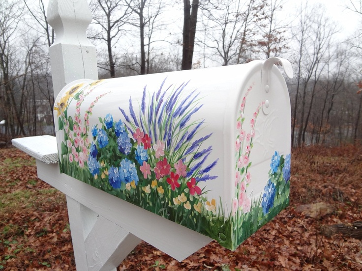 Hand Painted Mailbox with Garden Flowers      Hydrangea, Lavender, Roses, Sunflowers     Free Personalizing. $109.99, via Etsy.