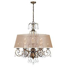 Belle Marie Collection Antique Gold 12-Light Chandelier with Champagne Shade