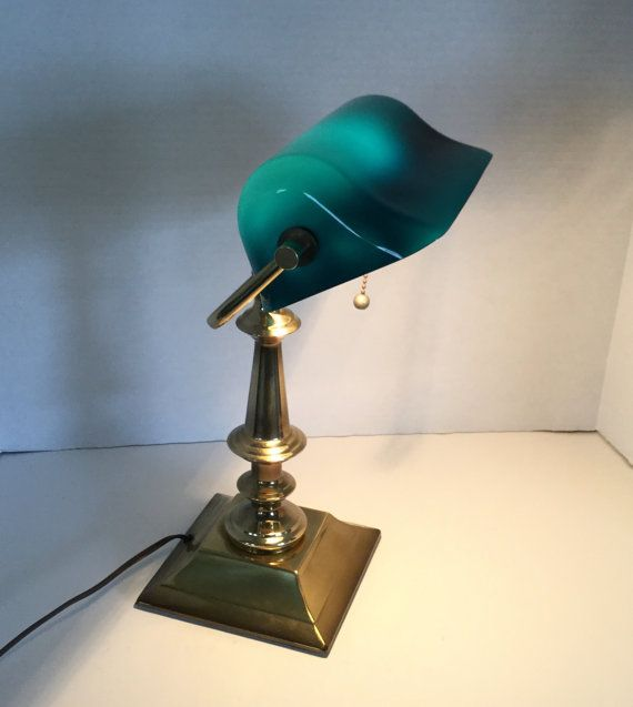 400 kr. Vintage Brass Bankers Lamp with Turquoise by StillWaterTreasures
