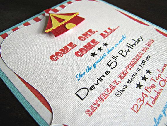 Circus Party Invitation  Carnival by ScrapYourStory on Etsy