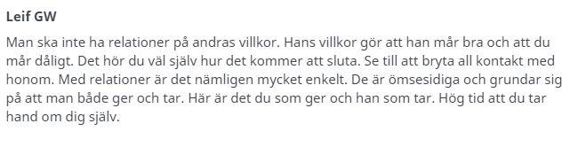 Leif GW om relationer.
