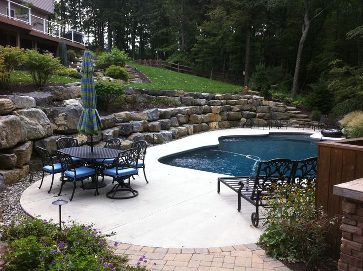 Pool Landscaping With Retaining Walls   Google Search