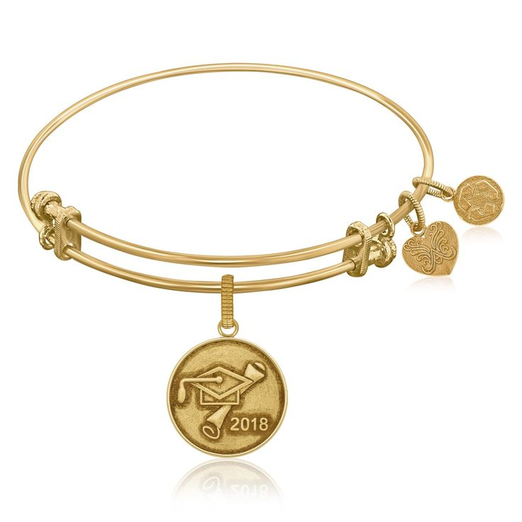 Expandable Bangle in Yellow Tone Brass with Class Of 2018 Graduation Cap Symbol