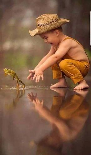 Pure JOY!! Free range kids chasing free range frogs. :)