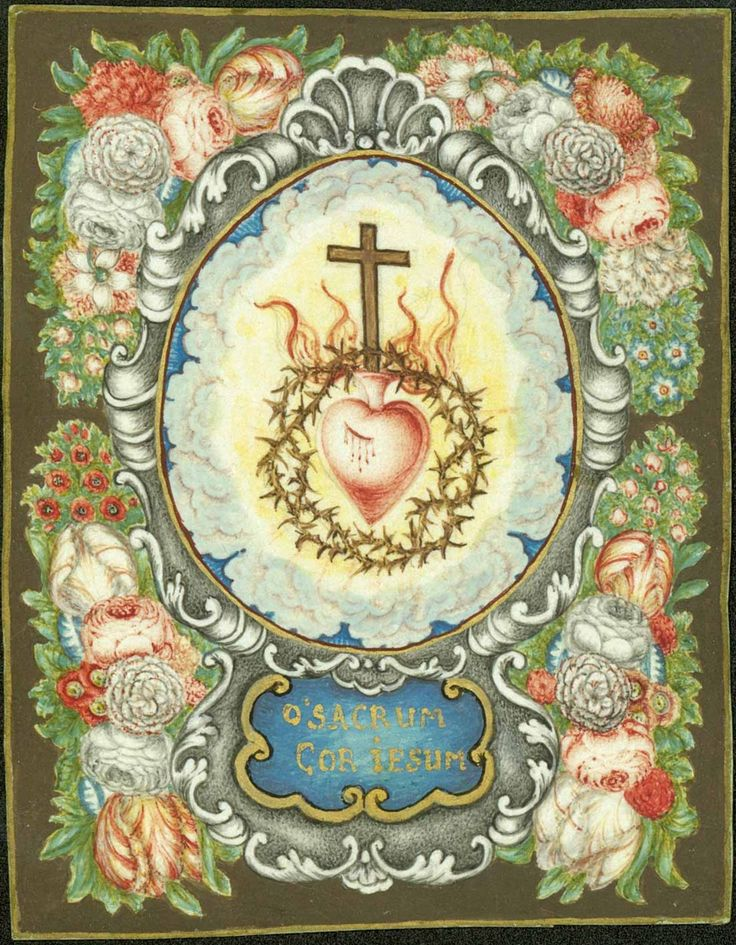 Unusual to see a sacred heart surrounded in this way, in a circle, by thorns -- usually the thorns go around the heart itself--- not in a border around it.