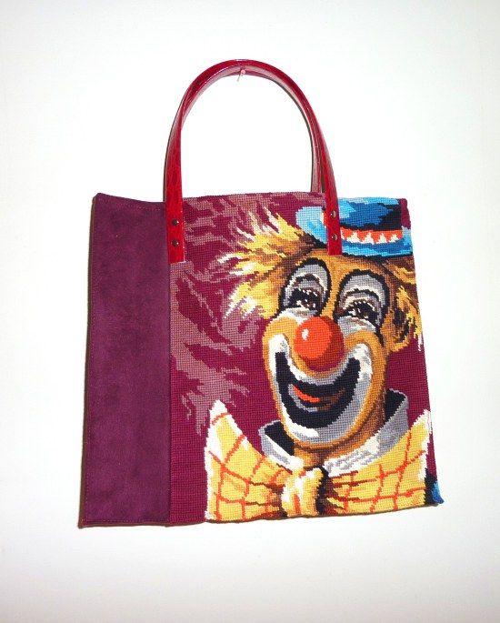 Recto : canevas clown et alcantara prune