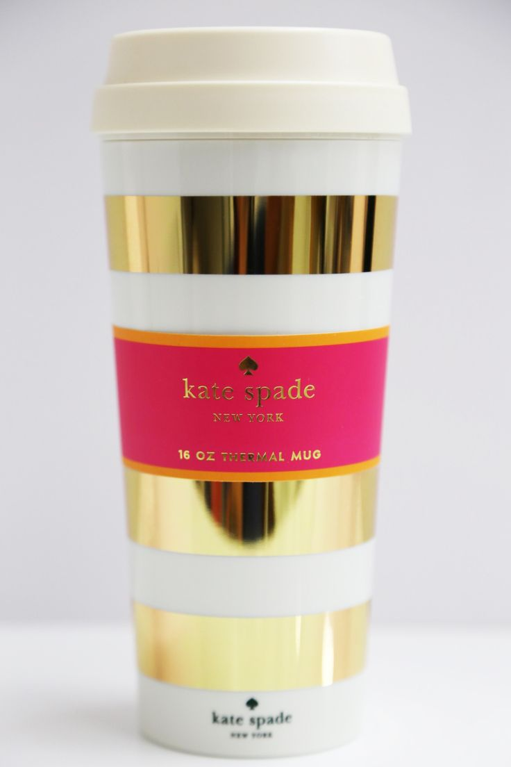 Gold Stripe Thermal Mug: Kate Spade - The Rage - 1