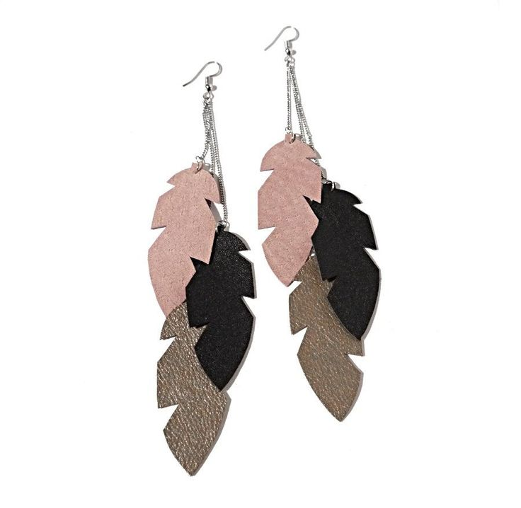 Recycled Leather Feather Earrings - Long