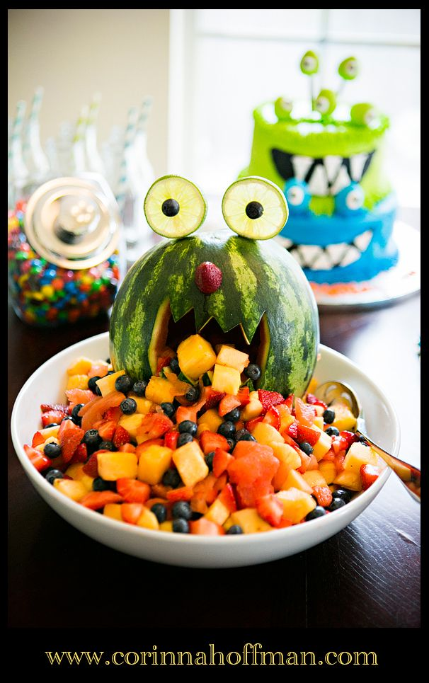 fruit salad from #monster #themed #birthday #party www.corinnahoffman.com  Love that and perfect for a summer bday party, need to see how to make that soon!