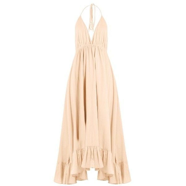 Loup Charmant Miami cotton dress ($416) ❤ liked on Polyvore featuring dresses, light pink, flounce dress, ruffle slip dress, ruffle dress, frilly dresses and slip dress