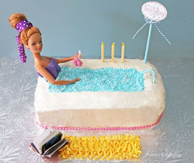 "~Barbie-""In the Bathtub"" Cake- use a standard loaf pan.... This is too cute. Oh. My. Goodness. I can do that!!*"