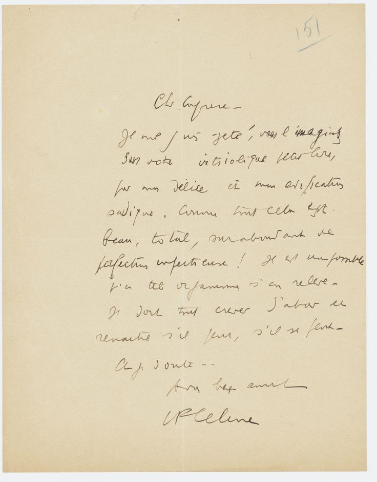 """A letter from the author Louis-Ferdinand Celine congratulating Lucien Rebatet, a collaborationist writer, for his lengthy pamphlet """"Les décombres,"""" or """"The ruins."""" The book, written in 1942, called for murdering Jews."""