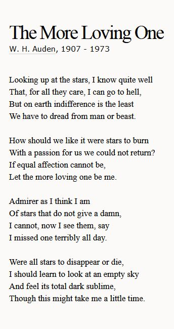 The More Loving One - W.H. Auden