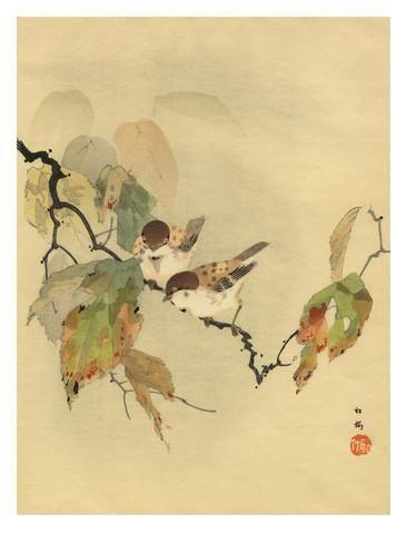 Sparrows with autumn leaves Gicléedruk