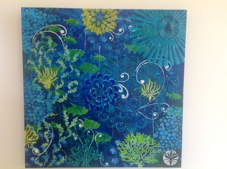"Intuitive Abstract Acrylic on canvas  ""Blue Reef"""