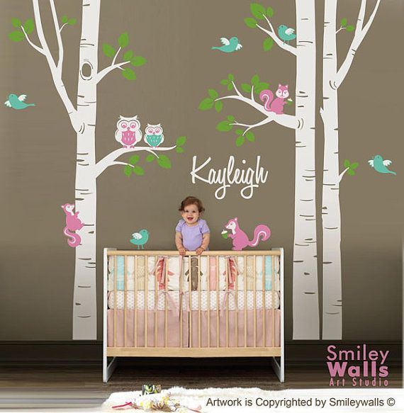forest wall decals for nursery | Nursery Wall Decal Birch Trees Forest Animals Kids Personalized Wall ...