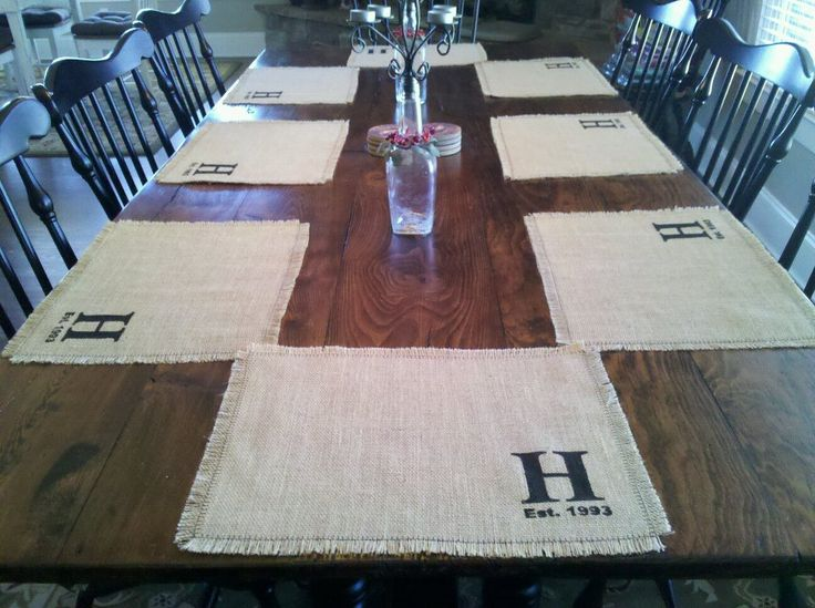 Family Mementos: Burlap Placemats. 8 yards burlap, pull threads to square fabric. Stencils, acrylic paint and fabric medium, blanket stitch