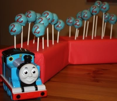 Thomas the Train cake pops.