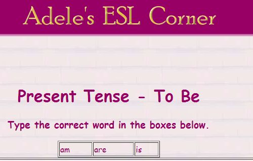 http://www.adelescorner.org/grammar/present_simple/to_be.html