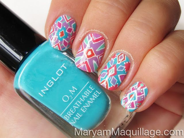 "! Maryam Maquillage !: ""Summer Kaleidoscope"" Hand-Painted Nail Art http://www.maryammaquillage.com/2013/07/summer-kaleidoscope-hand-painted-nail.html"