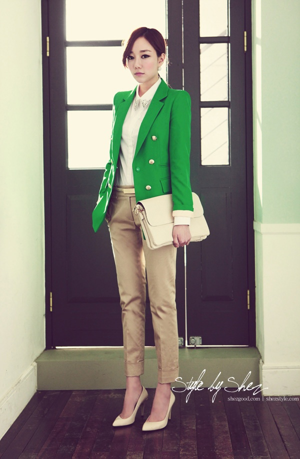 Green blazer and khaki capris. I wore this to work with a white lace peplum and loved it.