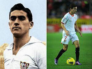 Juan Arza y Jesús Navas, el jugador que mas partidos ha disputado en el Sevilla fc y el jugador con mad partidos disputados con el Sevilla fc en el siglo  XXI respectivamente