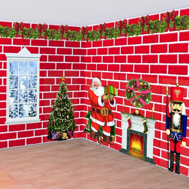 Nice Traditional Christmas Party Ideas Part - 10: Transform Your Party Room This Christmas With Our Traditional Red Brick  Scene Setter.