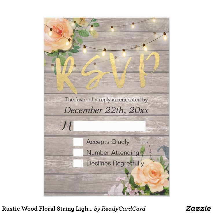 Rustic Wood Floral String Light Wedding RSVP Reply Card Wedding RSVP Reply Card Templates - Faux Gold Foil Script with Peach White Roses Floral and String Lights on Rustic Wood Background. A Perfect Design For Your Big Day! All Text Style, Colors, Sizes Can Be Modified To Fit Your Needs.