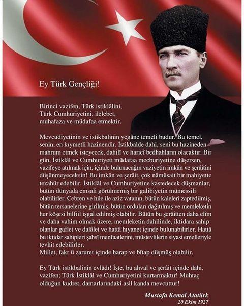 """4,512 Beğenme, 36 Yorum - Instagram'da Sözcü (@sozcucomtr): """"Ey Türk Gençliği!  Birinci vazifen, Türk istiklâlini, Türk Cumhuriyetini, ilelebet, muhafaza ve…"""""""