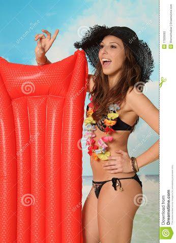 Dame met de rode luchtbed