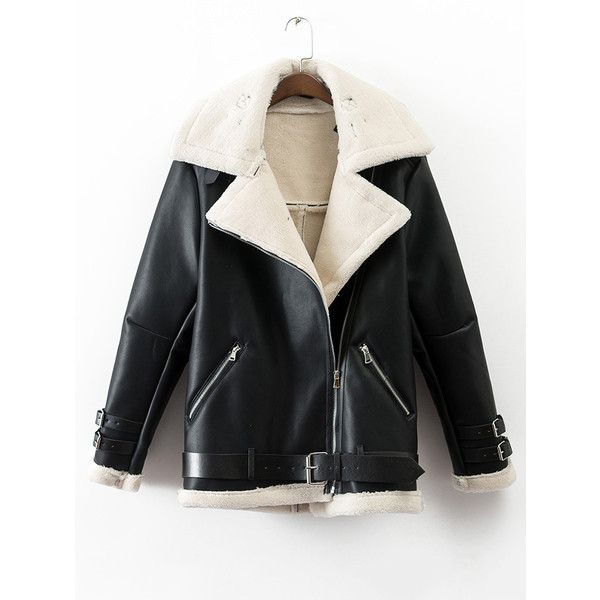 SheIn(sheinside) Black Lapel Oblique Zipper Faux Shearling Coat With... (420 GTQ) ❤ liked on Polyvore featuring outerwear, coats, zipper coat, short coat, short sleeve coat, sherpa coat and zip coat