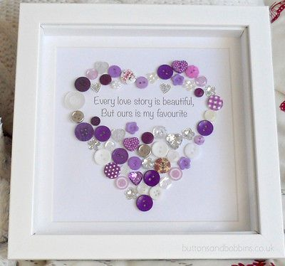 'Every Love Story' Button Heart Picture - Valentine's Day Valentine Gift Wedding