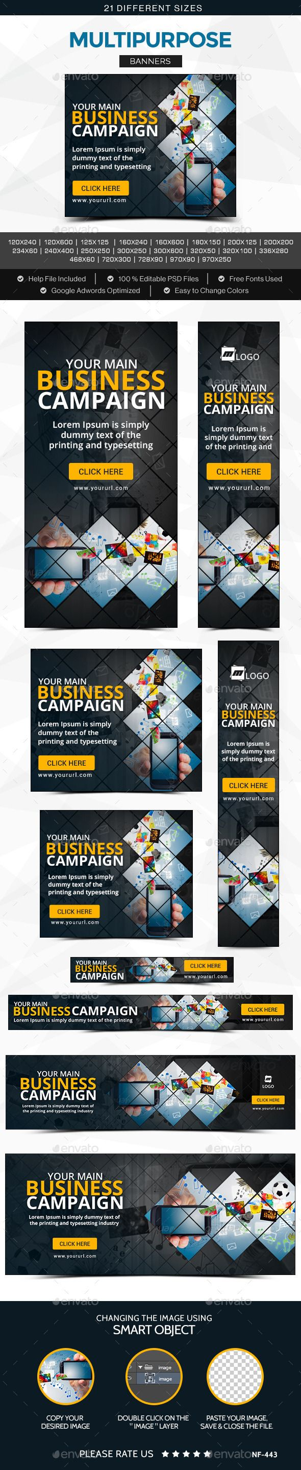 Multipurpose Banners Template #design #banners #web Download: http://graphicriver.net/item/multipurpose-banners/11834086?ref=ksioks
