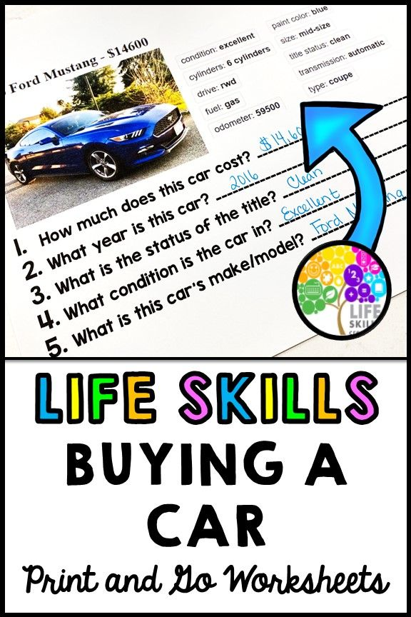 Life Skills Reading Math Car Payments And Insurance Moving