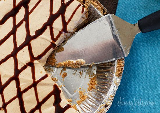 Skinny No-Bake Peanut Butter Pie - Whip this up in minutes for a dessert everyone will love. #weightwatchers