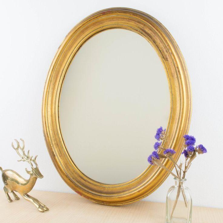 Pequeño espejo ovalado y dorado | Antic&Chic