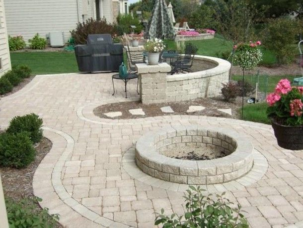 outdoor and patio beautiful home depot patio design with round fire pit and stone pavers - Best Patio Designs