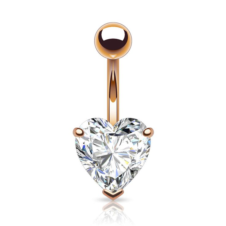 Large Heart Gem Rose Gold Belly Bar. Belly Button Rings – bellylicious