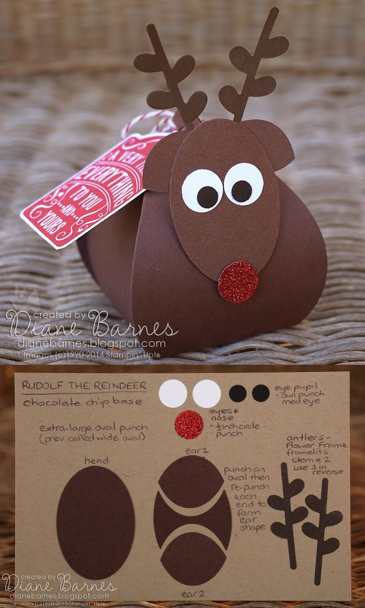 Christmas reindeer boxes & instructions using Stampin Up Curvy keepsake box die & punches. By Di Barnes #colourmehappy