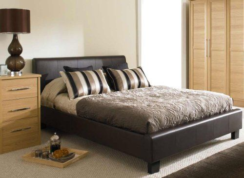 Brown Faux 4ft 6 Leather Modern Double Size Bed Frame And Slumber Sleep Orthopaedic Ortho Mattress