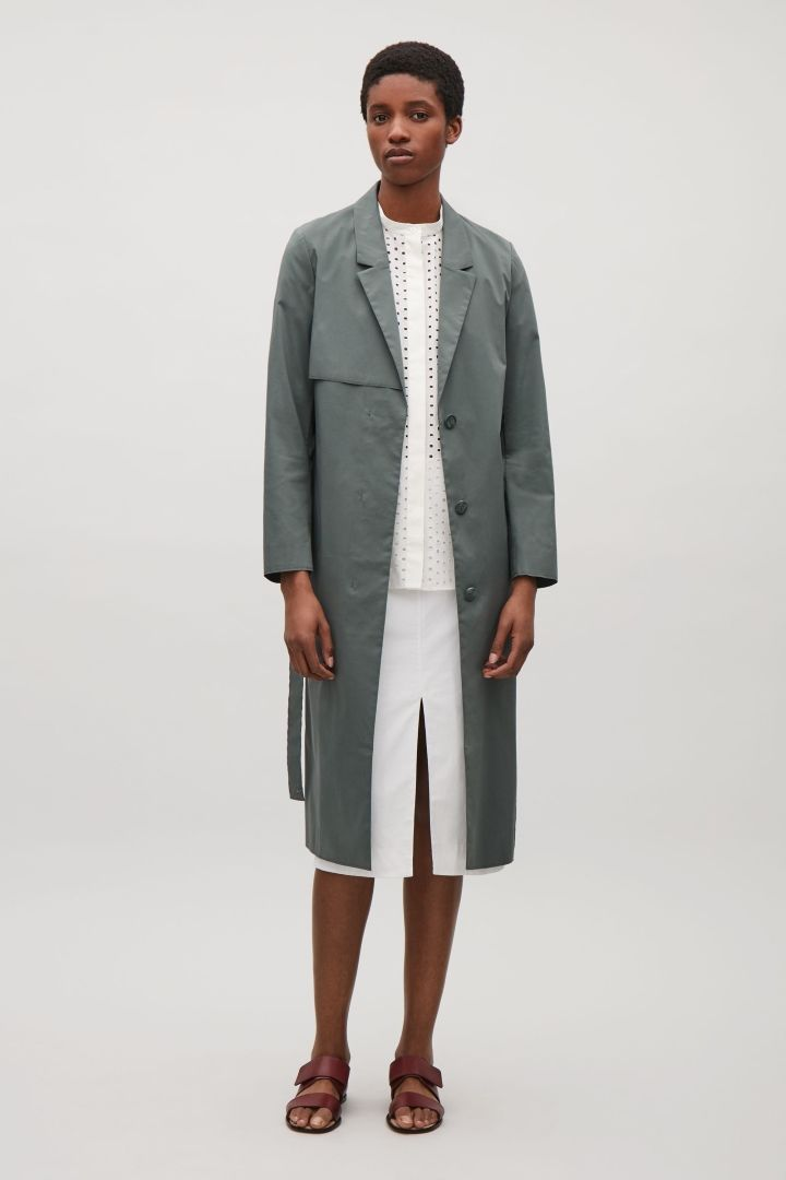 COS image 1 of Tailored trench coat in Sage Green