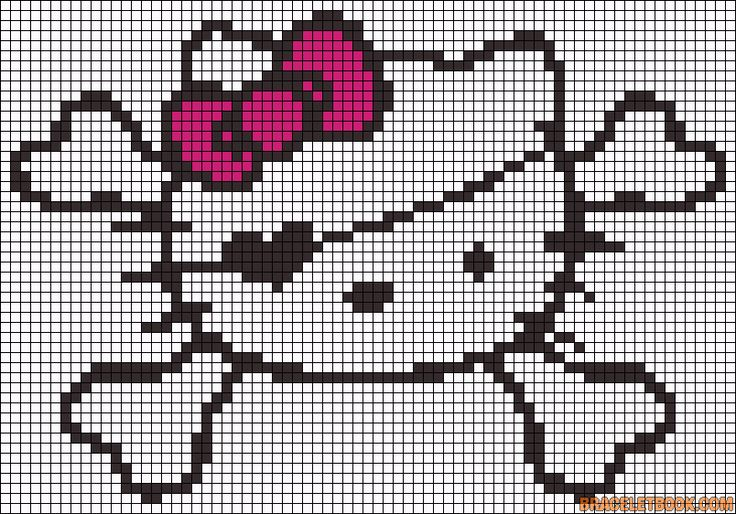 Hello Kitty pirate perler bead pattern