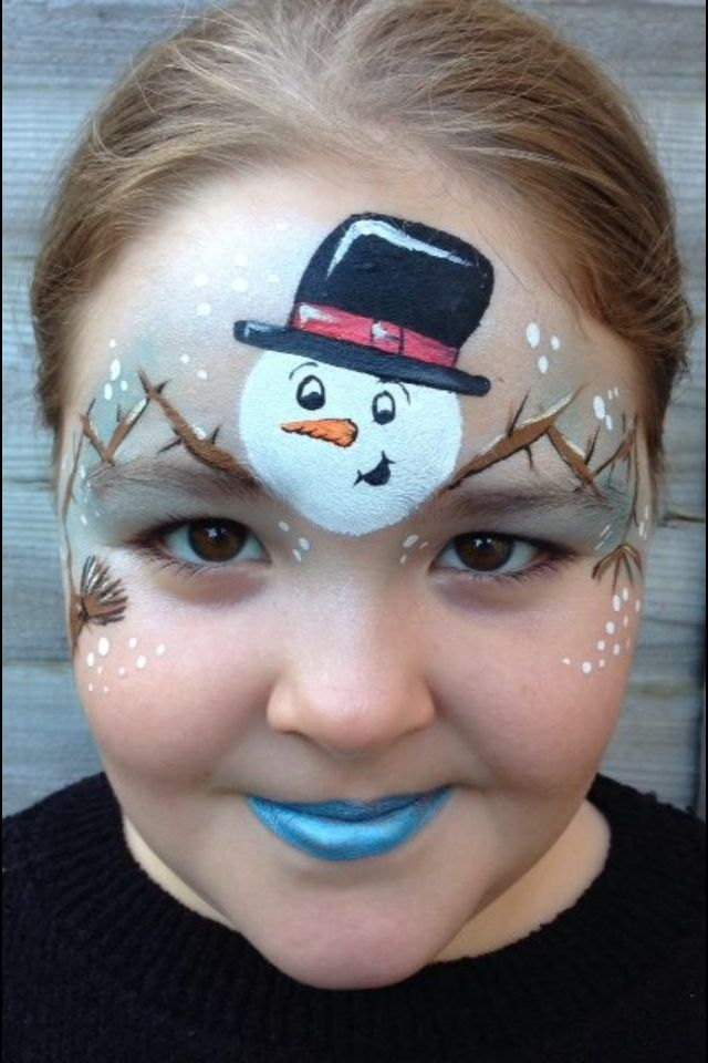 Snowman Christmas face paint