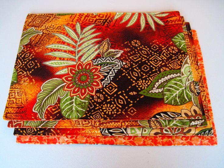 Tropical Orange Placemats Reversible Placemats Tropical Green Tribal Placemats Orange and Green Placemats Orange Tropical Placemats (24.00 USD) by tracystreasuresri