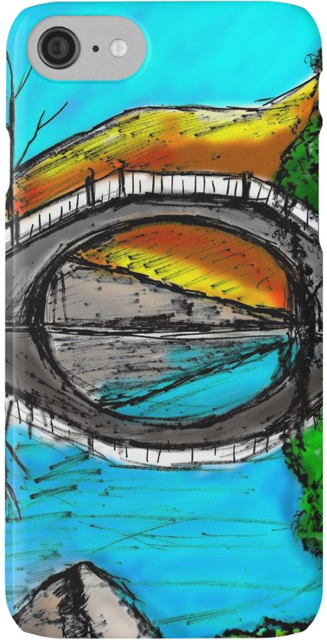 Bridge Reflection done with sharpies and colored digitally. • Also buy this artwork on phone cases, apparel, stickers, and more. https://www.redbubble.com/people/rainbowchildart/works/25705376-bridge-reflection-marker-2-colored?asc=u&p=iphone-case&rel=carousel #iphone #drawing #phone #case