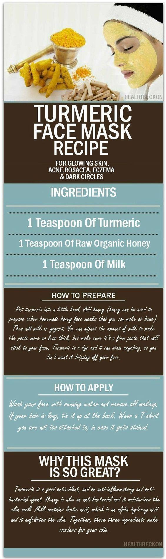 Turmeric Face Mask Recipe for Glowing Skin, Acne, Rosacea, Eczema and Dark Circles @larisanilow7: