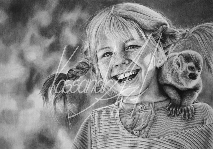 Fotorealistisches Kohleportrait Din A1#kassandrART #PippiLangstrumpf