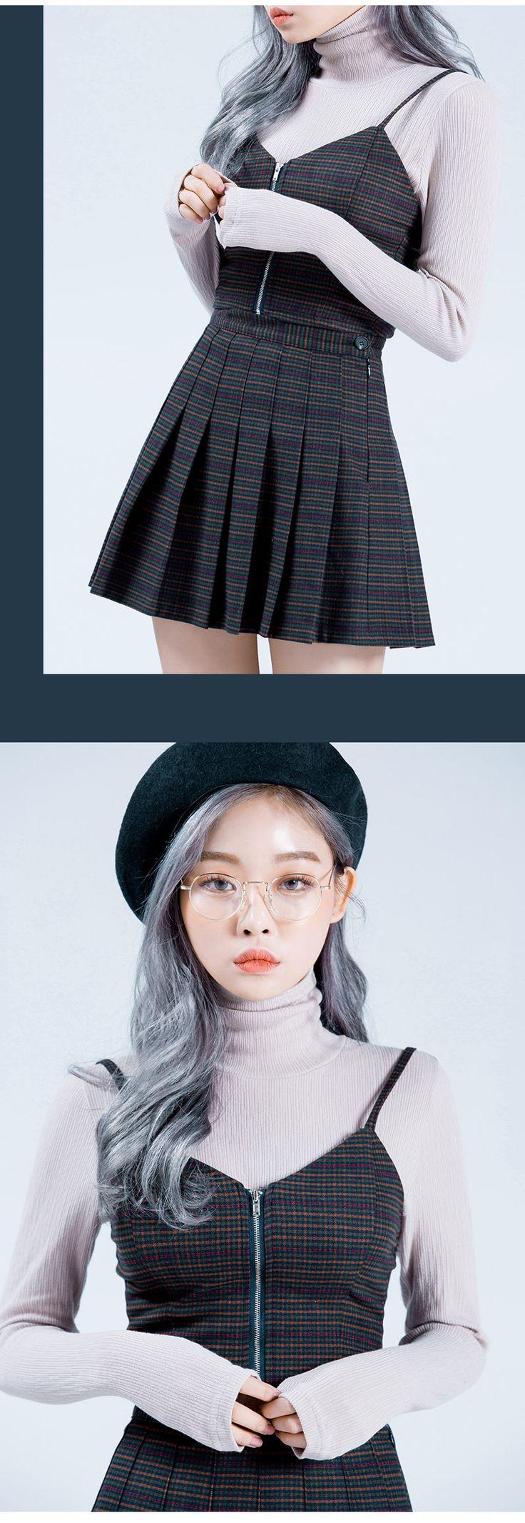 Front Zipper Heart Neck Check Bustier  | Korean Fashion